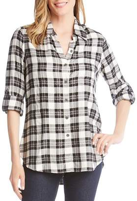 Karen Kane Metallic Plaid Button-Down Top