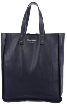 Salvatore Ferragamo Studded Leather Tote Navy Studded Leather Tote