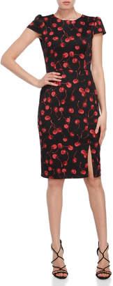 Betsey Johnson Cherry Print Scuba Sheath Dress