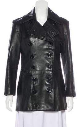 Andrew Marc Leather Double-Breasted Jacket