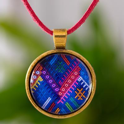 Guatemala Handcrafted Necklace with Maya Weaving Theme, 'Golden Chichicastenango Moon'