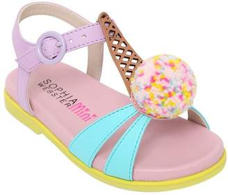 Sophia Webster Loni Nappa Leather Sandals W/ Pompom