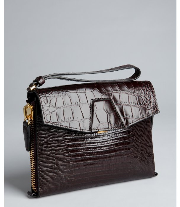 Alexander Wang mahogany croc embossed leather zip side clutch