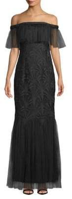 Zac Posen Lace Off-The-Shoulder Gown
