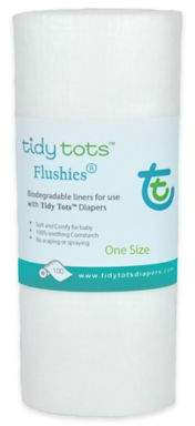 Tidy TotsTM Flushies® One Size 100-Count Biodegradable Diaper Liners