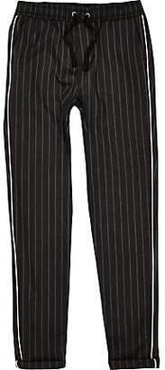 River Island boys grey pinstripe piped pants