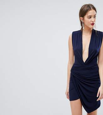 John Zack Tall Sleeveless Wrap Front Mini Dress