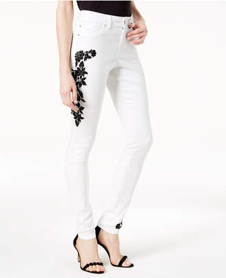 INC International Concepts I.n.c. Curvy-Fit Embroidered Skinny Jeans, Created for Macy's