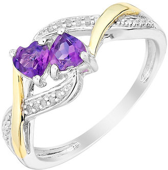 Argentium Silver & Yellow Gold Amethyst & Diamond Heart Ring
