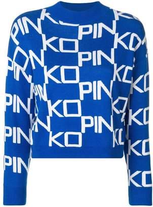 Pinko logo funnel neck sweater