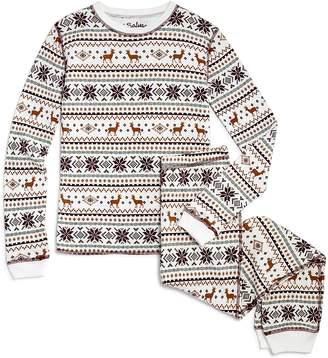 PJ Salvage Girls' Waffle-Knit Fair Isle Pajama Set