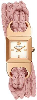 Tory Burch DOUBLE T LINK BRAIDED WATCH, PINK LEATHER/ROSE GOLD-TONE, 18 MM