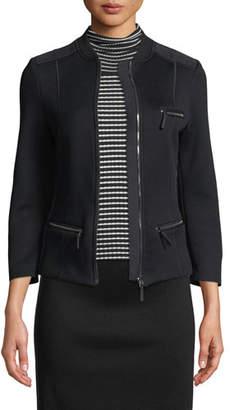 Piazza Sempione Bracelet-Sleeve Zip-Front Short Scuba Jacket