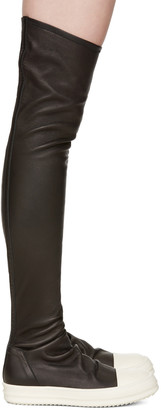 Rick Owens Black Stocking Over-the-Knee Boots $1,875 thestylecure.com