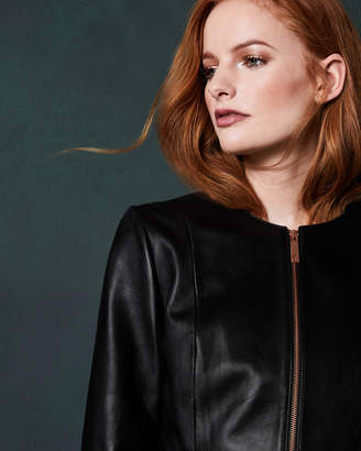 Ted Baker TAILA Frill detail leather jacket