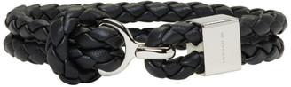 Burberry Black Braided Leather Bracelet $245 thestylecure.com