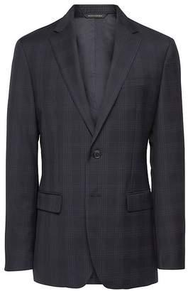 Banana Republic Slim Navy Plaid Italian Wool Suit Jacket