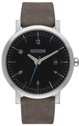 Nixon 'Rollo' Leather Strap Watch, 38mm