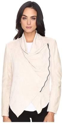 Blank NYC Faux Suede Beige Drape Front Jacket in Sunny Days Women's Coat
