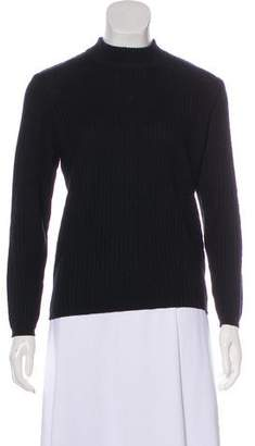Courreges Long Sleeve Rib Knit Sweater