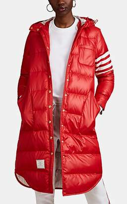 Thom Browne Women's Block-Striped Down Hooded Puffer Coat - Red