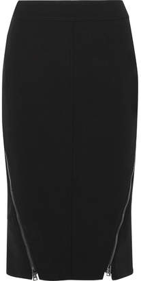 Tom Ford Leather-trimmed Wool-blend Midi Skirt - Black
