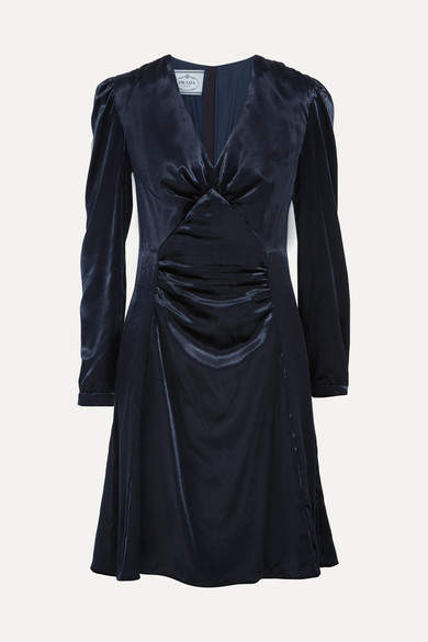 Prada - Ruched Velvet Dress - Midnight blue