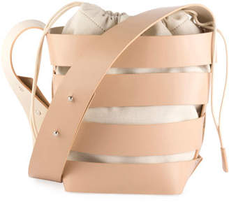 Paco Rabanne Cage Small Mixed Hobo Bag, Nude