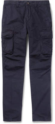 Incotex Slim-fit Cotton And Linen-blend Cargo Trousers - Navy