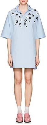 Jimi Roos Women's Flower-Appliquéd Cotton Poplin Tunic Dress