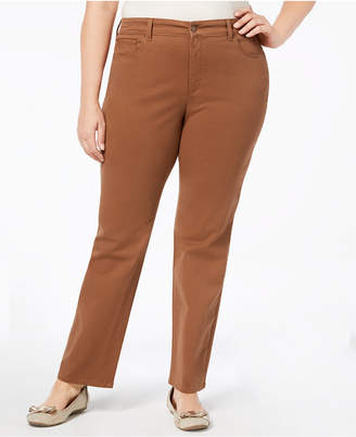 Charter Club Plus Size Lexington Tummy-Control Colored Wash Straight-Leg Jeans, Created for Macy's
