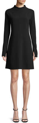 Theory Mock-Neck Long-Sleeve A-Line Admiral Crepe Mini Dress