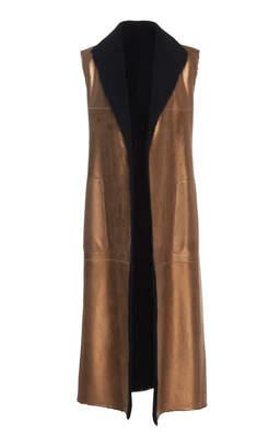 Akris Tristyn Metallic Lamb Skin Vest