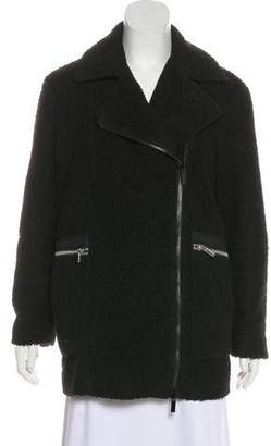Elizabeth and James Faux Fur Leather-Trimmed Coat