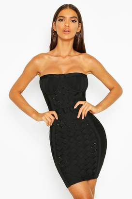 boohoo Boutique Contouring Bandage Cupped Mini Dress