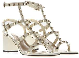 Valentino Ivory Leather Rockstud Sandal With Double Strap Closure