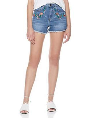 Parker Lily Women's Juniors Mid Rise Stretch Denim Shorts with Flower Embroidery