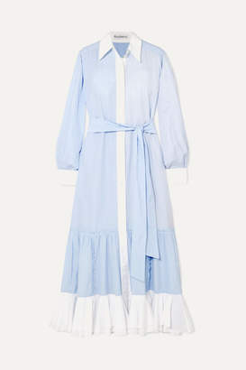 J.W.Anderson Tiered Striped Cotton-poplin Midi Dress - Light blue