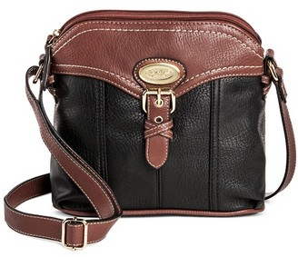 Bolo Women's Faux Leather Crossbody Handbag with Back/Interior Compartments and Zipper Closure - Black/Brown $29.99 thestylecure.com