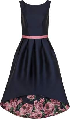 Dorothy Perkins Womens *Chi Chi London Navy Floral Print Dip Hem Fit And Flare Dress