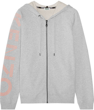 KENZO - Printed French Cotton-terry Hooded Top - Light gray $380 thestylecure.com