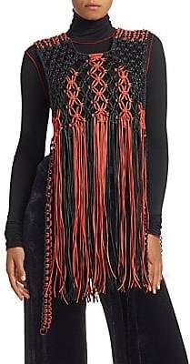 Proenza Schouler Women's Macramé Fringe Leather Sleeveless Top