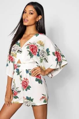 boohoo Large Floral Kimono Sleeve Playsuit