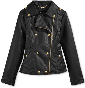 Jessica Simpson Faux-Leather Military Biker Jacket, Big Girls (7-16) $100 thestylecure.com