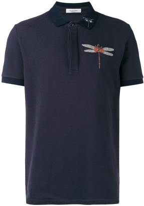 Valentino dragonfly embroidered polo shirt