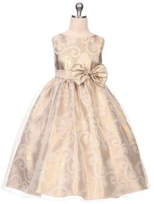 Kids Dream Victoria- Organza Overlay Jacquard Dress Gold