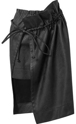 Brynn Asymmetric Gathered Faux Leather Skirt - Black