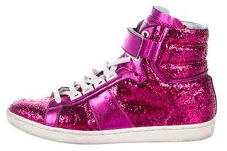 Saint Laurent Glitter High-Top Sneakers