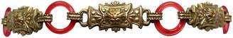 One Kings Lane Vintage 1920s Brass Link & Glass Ring Bracelet - Little Treasures