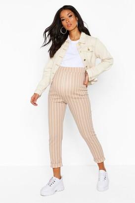 boohoo Maternity Stripe Tapered Trouser